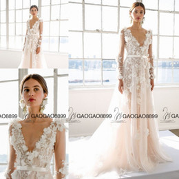 Wholesale Marchesa Bridal Spring Long Sleeve Wedding Dresses with Floral Applications Plus Size V neck A line Garden Bridal Wedding Gown