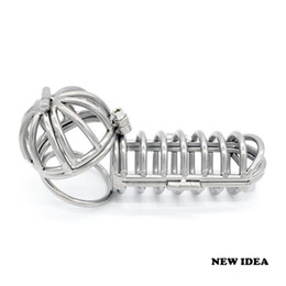 Bondage Stainless steel Male chastity devices Long Straight Cage & Ball Cage NEW Gay Fetish