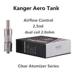 Atomizadores al por mayor en venta-Venta al por mayor Kang AeroTank Clearomizer de control de flujo de aire de doble bobinas glassomizer Reconstruible atomizador 2,5 ml de doble bobinas atomizador