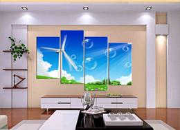 Wholesale Unframed pieces on Canvas Prints Wind power generator Bubble Chrysanthemum crops butterfly honeybee ship rose mountain tree