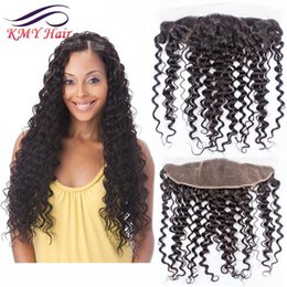 Wholesale Cheap Deep Curl Closure - Cheap Malaysian Peruvian Brazilian Deep Wave Lace Front Closures With Baby Hair 13x4 Virgin Human Hair Full Silk Base Lace Frontal Deep Curl