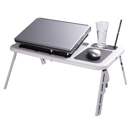Portable Adjustable Folding Laptop Table Foldable Laptop Stand Desk with 2 USB Cooling Fans Mouse Pad Zone for Sofa Bed Floor