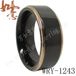 Two Color Rose Gold and Black Plated Tungsten Ring Bands for Men WRY-1243 8mm width