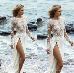 Wholesale See Through Wedding Skirts - 2017 High Quality Long Sleeve Beach Wedding Dress Appliques Pearls See Through Split Side Jewel Boho Bridal Gowns Garden Sexy Wedding Dresse