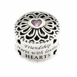 Loose beads Fits for Pandora Bracelet Original 925 Sterling Silver beads Love & Friendship Charm with pink CZ 2016 new Autumen jewelry