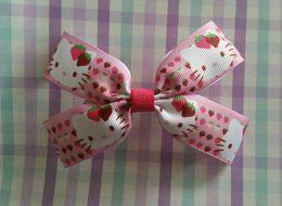 Wholesale lovely Berry Sweet hello kitty princess diamond cartoon ribbon girls hair bows birthday Christmas New Year party school gifts