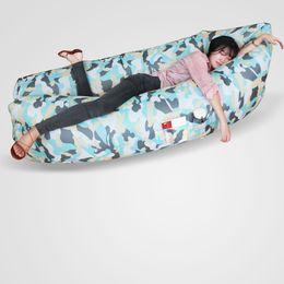 Wholesale 260 cm Camping Army Green Inflatable Air Sofa Bed Rest Air Sleep Lazy sofa Hangout Banana bearSleeping Bag Outdoor Lazy Laybag have Pocket