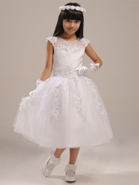 The New 2016 Models With High Collar Jacket White Cuddly Flower Girls' Dresses Fashion Beaded Lace Applique Beautiful Girls Dress Plus Size