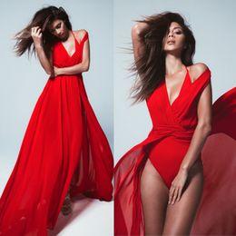 2016 Latest Hot Sexy High Split Red Evening Dress Deep v Necka Sleeveless A line Chiffon Sweep Train Cheap Party Dress In Store