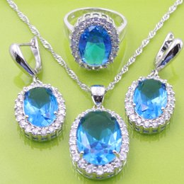 Wholesale Blue Topaz White Zircon Jewelry Sets Silver Earrings Pendant Necklace Rings Size For Women Free Jewelry Box