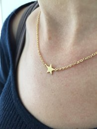 30PCS- N134 Simple Rock Star Necklaces Tiny Small Five-pointed Star Necklace Cute Sideways Necklaces for Women Jewellery