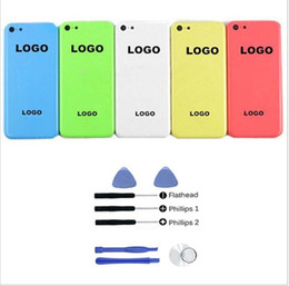 Logos sim à vendre-Cinq couleurs pour iPhone 5c Châssis de remplacement Housse de logement de couverture avec LOGO ButtonsSim Bac Haute Qualité + Outils gratuits