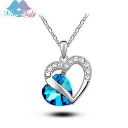 Wholesale 2016 New Full Crystal Love Heart Necklaces Fashion jewelry Australian Imported Crystal Jewelry heart to heart MLY4232