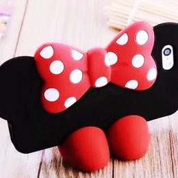 Wholesale For Iphone s Plus Samsung Galaxy S6 New D Silicon Cartoon Bow knot Mickey Minnie Mouse Case with High Heel Shoes Stand Holder OPPABG