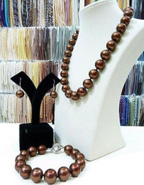 Gorgeous 10-11mm south seas chocolate pearl necklace 18inch 925 silver clasp free bracelet earrings