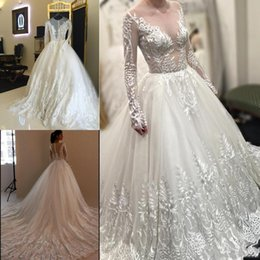 Wholesale See Through Long Sleeve A Line Wedding Dresses Lace Appliques Chapel Train Real Photos Spring Garden Country Bridal Wedding Gowns Cheap
