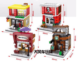 Wholesale 4sets Mini Street View McDonald s Coffee House Fast Food Cafe Haagen Dazs Building Bricks Block CREATOR