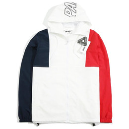 Wholesale 2017 new US streetwear palace skateboards jacket men casual windbreaker hooded coats hit color hiphop jackets Outerwear bomber