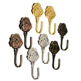 Wholesale 2PCS Decorative Rose Leaves Wall Hook Antique Curtain Tie Backs Hardware Hanger