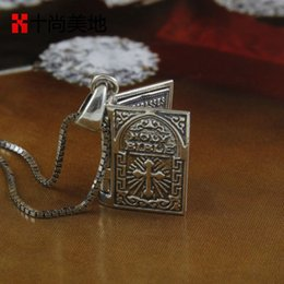 Wholesale The ten is Meidi silver cross small Bible English moderator prayer Christian Pendant Necklace