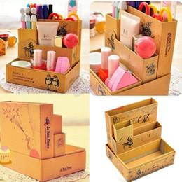 Organizadores de papel de escritorio en Línea-Papel del tablero de papel al por mayor DIY-Fairy Tale Caja de almacenamiento de escritorio creativo DIY Box Office Home Storage cosmética caja de acabado Organizador Caja