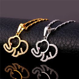 U7 Luxury Cute Elephant Pendant Necklace for Women Trendy 18K Real Gold Platinum Plated Cubic Zirconia Pendant Lucky Jewelry Perfect Gift