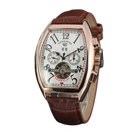 Wholesale Upscale FORSINING square plate with a large digital calendar fake eye hollow five pin flywheel mechanical belt watches D305