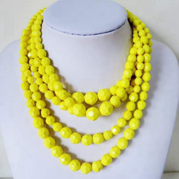 Free Shipping Yellow Beaded Necklace, Layered Fashion Hot Sale Necklace, Wholesale New Statement Necklace, Sweet Bid Necklace