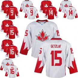 Wholesale Mens Team Canada Jamie Benn Matt Duchene Ryan Getzlaf Jonathan Toews World Cup of Hockey Olympics Game Red white Size S XL