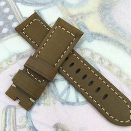 24mm 120/75 mm moda marrón nubuck becerro correa de cuero para Panerai u otro reloj LUNMINOR RADIOMIR
