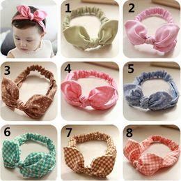Wholesale kid newborn baby girls headband elastic hair head bands wraps rabbit bunny ears headbands dot turbante accessories headwrap