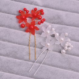 DHL Free Shipping Fashion Europe and American Bride Hairpin pearl flower plate U shape hairpin Wedding Stick Jewelry hair accessories