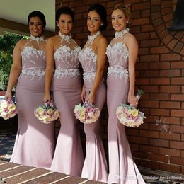 2017 Halter Beach Mermaid Bridesmaid Dresses Sheer Neck Lace Applique Satin Long Bridesmaid Gowns High Neck Custom Made Formal Dresses