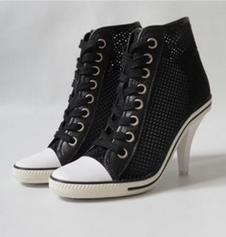 Wholesale Ash Women s Mesh Leather Boots Sneakers Black Hollow Stiletto Heels Shoes High top Fashion Trainers Hot Sale Tide Leather Casual Sport Shoes