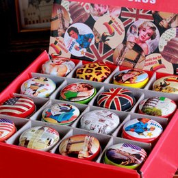48Pcs Retro classic pop elements grocery round boxes Tin pure color boxes Sweet box wedding candy box wedding favors mini case