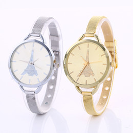 Wholesale fashion women alloy metal thin mesh belts dress quartz watch casual ladies girls simply design eiffel tower watches