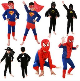 Wholesale Superhero cosplay costumes Children Batman Spiderman Superman Costumes Superman costume Spiderman Superhero Costume Zorro costume D436