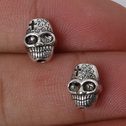 Free shipping 11pcs 7x10mm Zinc Alloy Antique Silver Skull DIY Charms Pendants jewelry making DIY