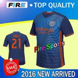 Wholesale 2015 NYCFC New York City FC Soccer Jerseys PIRLO MIX DAVID VILLA LAMPARD Home Sky Blue Away Black New York City soccer football shirts