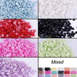 2000pcs Wholesale Half-Round Flatback Acrylic Pearl for DIY nail Art Phone Craft 8 Colors 08OW