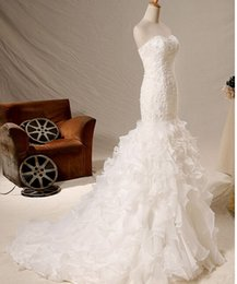 Wholesale Wedding Dresses Best Mermaid Wedding Gowns Elegant Cascading Ruffles Graceful Strapless Sweep Train Affordable New Arrival