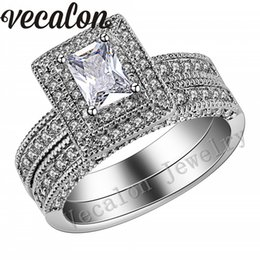 Vecalon Vintage Jewelry Simulated diamond cz 2-in-1 Engagement Wedding Band Ring Set for Women 14KT White Gold Filled Party ring