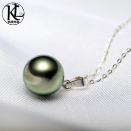 simple design 100% Real Natural 9-10mm Tahitian black pearl pendant 18K gold pendant with S925 sterling silver necklace for women