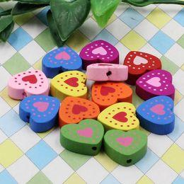 100pcs lot Wholesale Colorful Lead-free Heart Wood Beads for Bracelet Necklace 17x18mm K04612