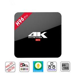 Wholesale H96 PRO TV Box Amlogic S912 Octa core Android G G Mali T820MP3 GPU wifi Gigabit LAN Bluetooth4 Media Player