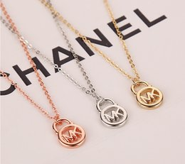 Wholesale New High quality design rose gold Silver gold Set auger pendant necklace Valentine s Day gift Jewelry