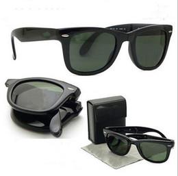 Brand Designer Men Folding way Sunglasses With Leather Case popular Foldable Women polarized sunglasses,free shipping