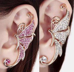 Wholesale Fashion Womens Rhinestone Crystal Butterfly Earrings Ear Cuffs Clip on Earring Pendientes Earcuff Ear Cuff Non piercing Earrings Jewelry