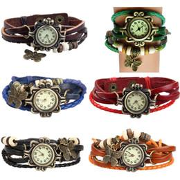 Wholesale Antique Leather Bracelet Watch Vine Women Wrist Watch Butterfly Pendant Synthetic Leather Strap dress Watch Relogio Feminino