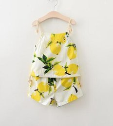 Wholesale Girls Girls Outfits and Sets Babys Kids Clothes New Summer Sleeveless Vest T shirts and Rompers Fashion One Pieces Lemon hot